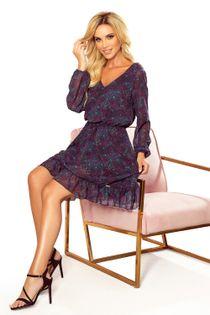 Wzorzysta sukienka z gumką w pasie i falbanami - Granatowy L
