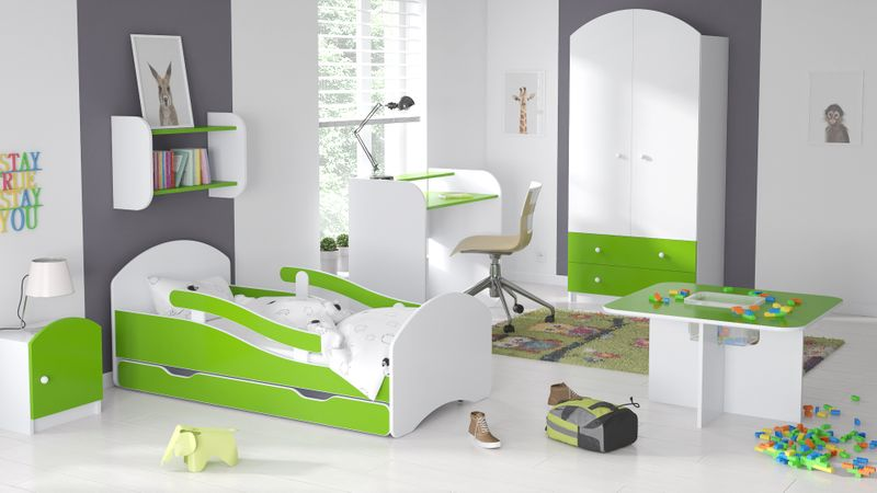 Łóżko dziecięce 140x70 biało-zielone/limonkowe materac gratis zdjęcie 2