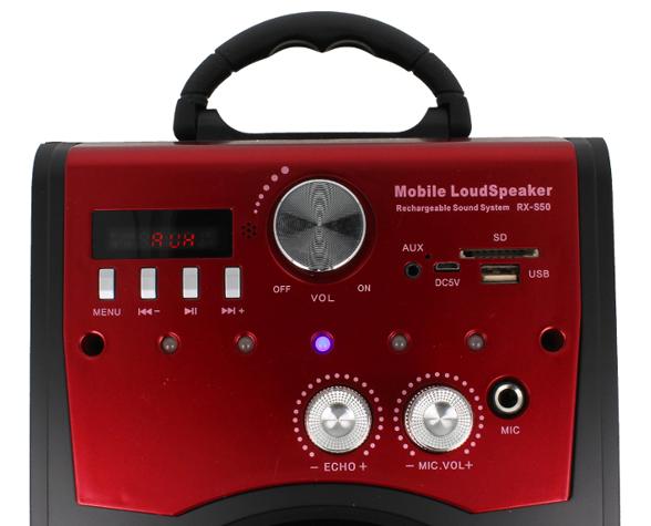 Głośnik Miniwieża Boombox 60W LED Bluetooth + Mikrofon RX-S50 G208Z zdjęcie 4