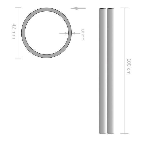 Rury ze stali nierdzewnej, 2 szt., okrągłe, V2A, 1 m, Ø42x1,8mm GXP-680865 zdjęcie 2