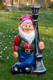 Duży krasnal do ogrodu figura ogrodowa krasnal z latarnią 75 cm
