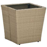 Stolik herbaciany, beżowy, 41,5x41,5x44 cm, rattan PE i szkło