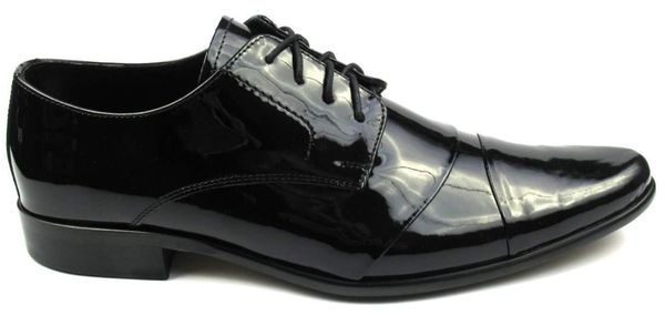 Czarne lakierki męskie z zakładkami Faber T21 Rozmiar Obuwia - 38