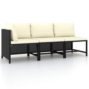 Lumarko 3-cz. zestaw wypoczynkowy do ogrodu, poduszki, czarny rattan PE