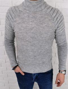 Ciepły szary męski sweter golf z bikerem 2200 - XL