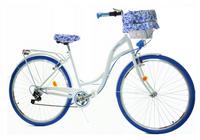 """Rower Dallas City 28"""" 7spd - biały z niebieskim + kosz i wyściółka"""