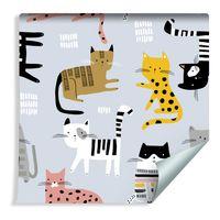 Tapeta Dla Dzieci - Kolorowe Kotki w Stylu Skandynawskim -  Rolka 10m
