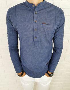 Granatowa koszula męska slim fit zapiecie do polowy ozdobne przeszycia 0376/20 - S