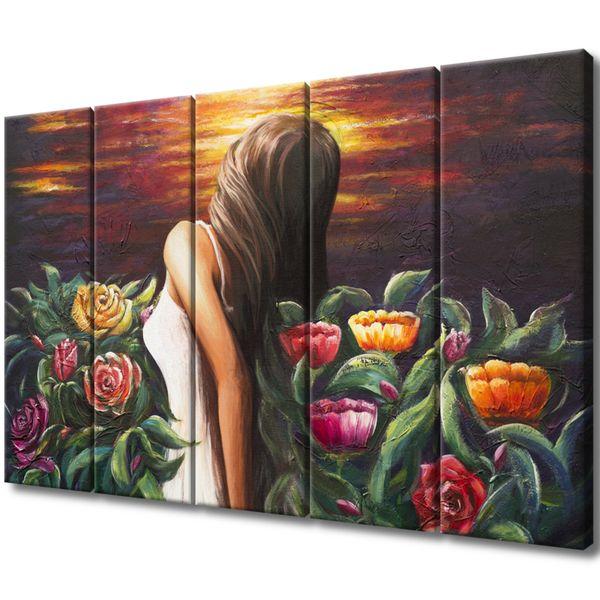 Obraz Na Płótnie 100X63 Kobieta Wśród Kwiatów zdjęcie 1