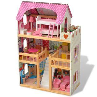 3-poziomowy drewniany domek dla lalek