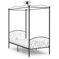 VidaXL Rama łóżka z baldachimem, czarna, metalowa, 90 x 200 cm