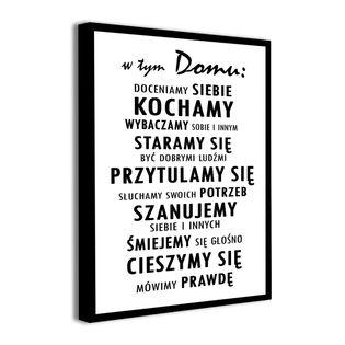 Obraz na płótnie z napisami W TYM DOMU ZASADY REGUŁY DOMU napisy XL