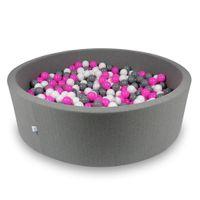 Suchy basen 130x40cm szary z piłeczkami 700szt (biały, szary, różowy)