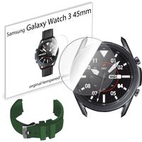 Pasek sportowy opaska i szkło hartowane do Samsung Galaxy Watch 3 45mm zielony