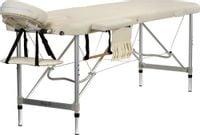 Stół, łóżko do masażu 2-segmentowe aluminiowe Kremowe