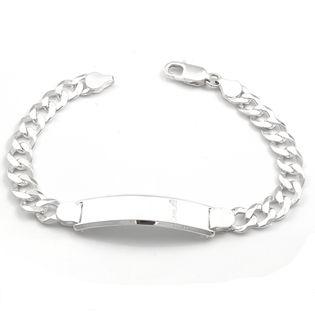 Bransoleta srebrna pancerka z blaszką 21 cm
