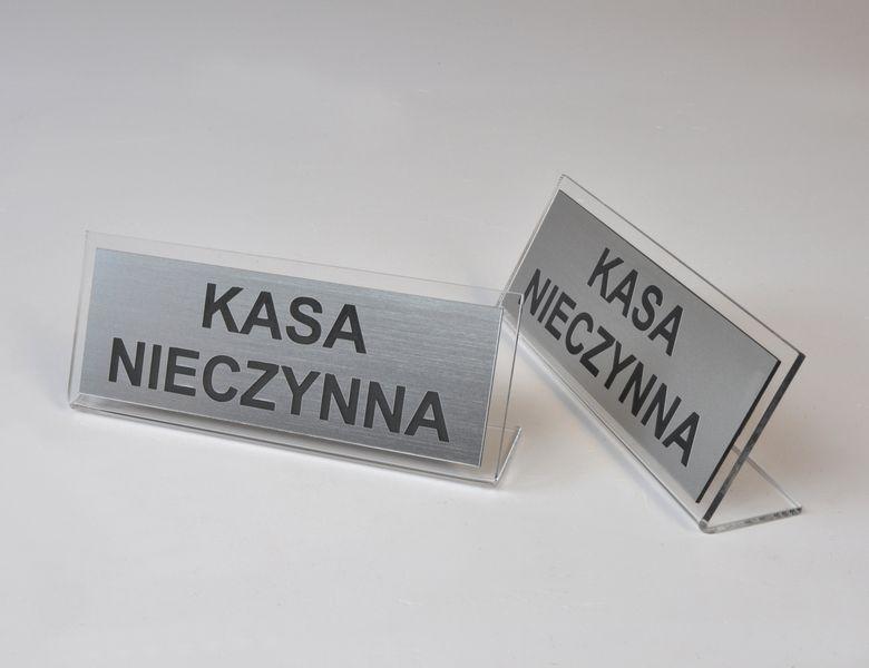 grawerowana tabliczka informacyjna na stół z plexi i laminatu 15x6cm na Arena.pl