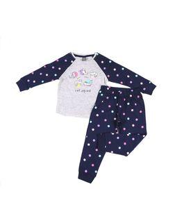 PEPCO Dziewczęca, dwuczęściowa piżama w kropki, ze wzorem w kotki