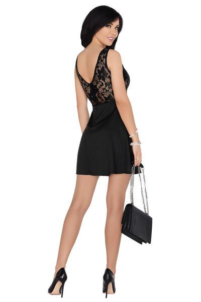 Koronkowa Sukienka przed kolano czarna bawełniana na imprezę XL zdjęcie 2