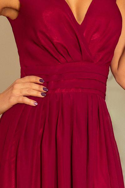 Sukienka Maxi Na Przyjęcie Wesele Bal Bordowa Na Ramiączka 166-3 L 40 zdjęcie 2