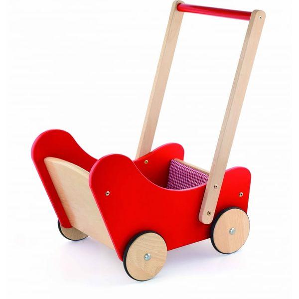 Drewniany wózek dla lalek Pchacz Ciche Koła Viga zdjęcie 1