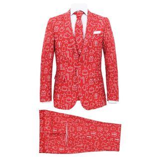 Lumarko Świąteczny garnitur męski z krawatem, 2-częściowy, 46, czerwony