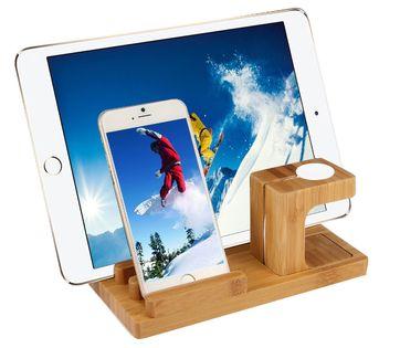 Stojak stand podstawka bamboo dock iPhone iPad Apple Watch