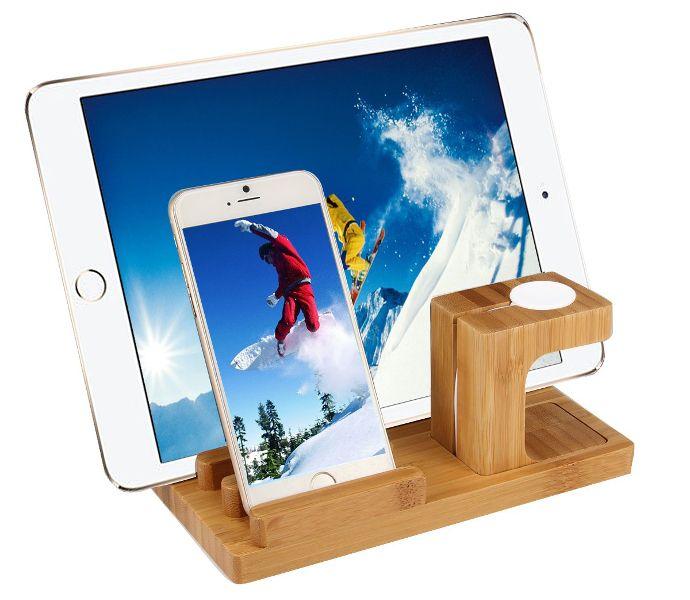 Stojak stand podstawka bamboo dock iPhone iPad Apple Watch zdjęcie 1