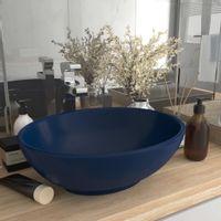 Luksusowa, owalna umywalka, matowy granat, 40x33 cm, ceramiczna