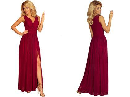 Sukienka Maxi Na Przyjęcie Wesele Bal Bordowa Na Ramiączka 166-3 L 40