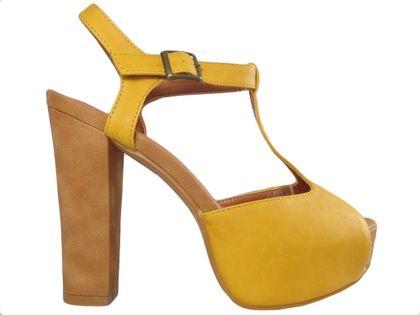 Żółte zamszowe sandały na platformie buty na obcasie 38