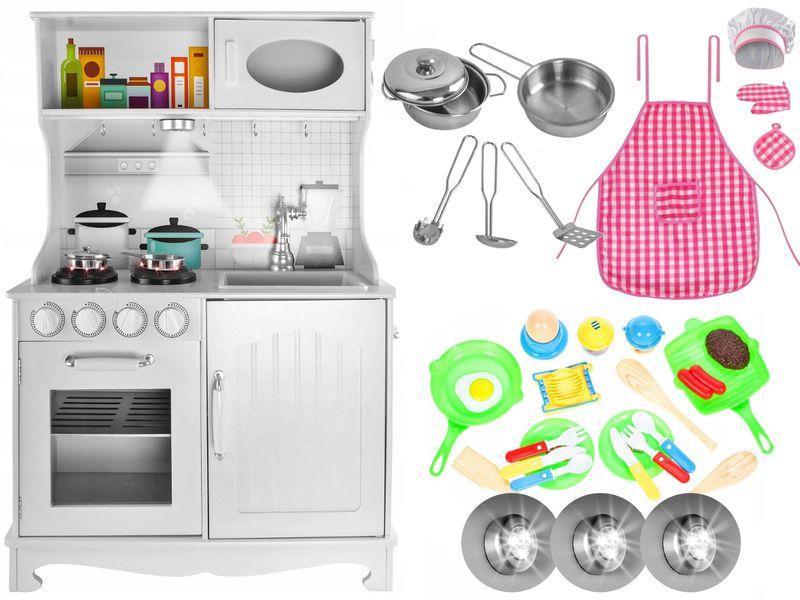 Drewniana Kuchnia Dla Dzieci Światła Dźwięki Granki Akcesoria Z371Z zdjęcie 13