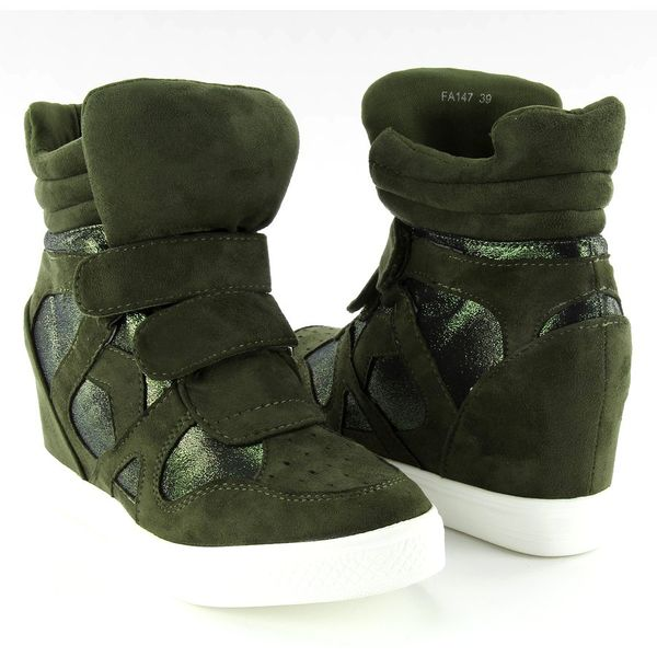 Zamszowe sneakersy zapięcie na rzep FA147 BLACK*