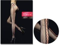 Rajstopy kabaretki Fiore seksowne wiązane wstążką Black 3