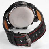 Zegarek męski Oulm 3130 wodoszczelny, czarny, czerwony, skórzany pasek zdjęcie 2