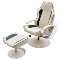 Fotel z podnóżkiem, kremowy, sztuczna skóra