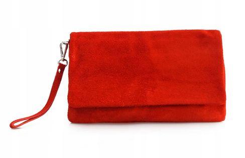 TOREBKA SKÓRZANA zamszowa kopertówka V008 czerwona