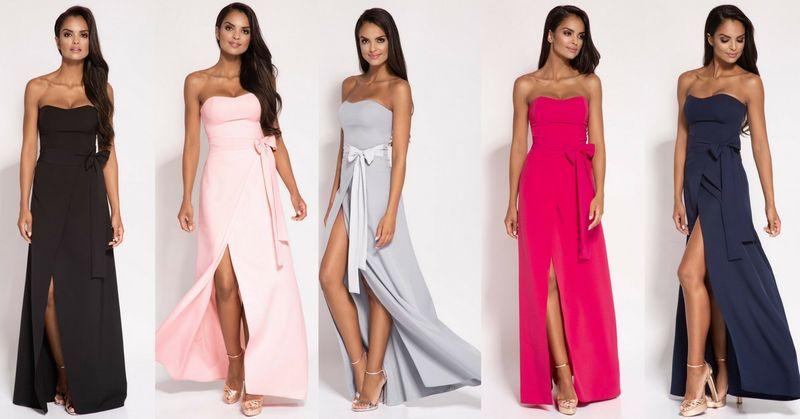 Sukienka MAXI Lorica bez ramiączek Różowa Rozmiar XL