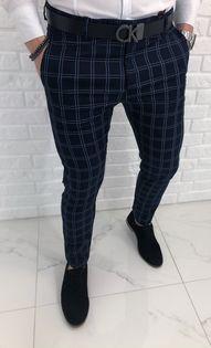 Granatowe eleganckie spodnie w stylowa krate 1330 - 30