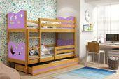 Łóżko piętrowe meble dla dzieci drewniane MIKO 190x80 + POJEMNIK