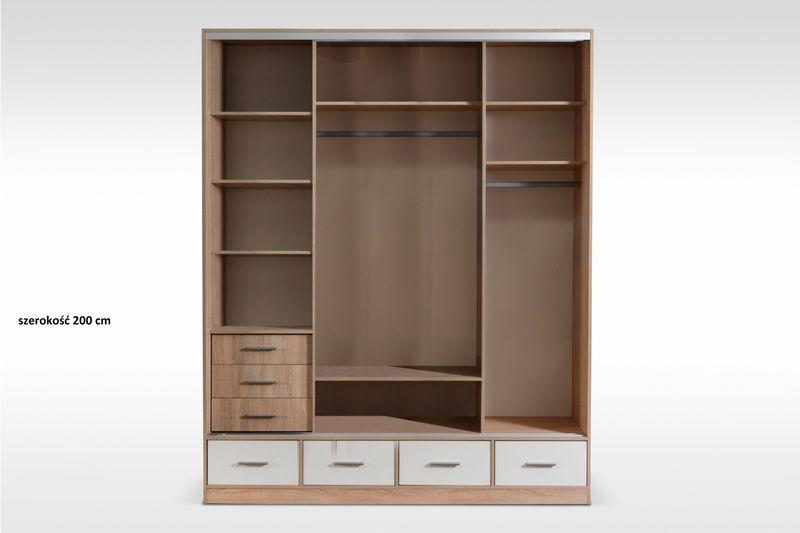 Szafa garderoba z lustrem biała 200 cm garderoba połysk dostawa gratis na Arena.pl