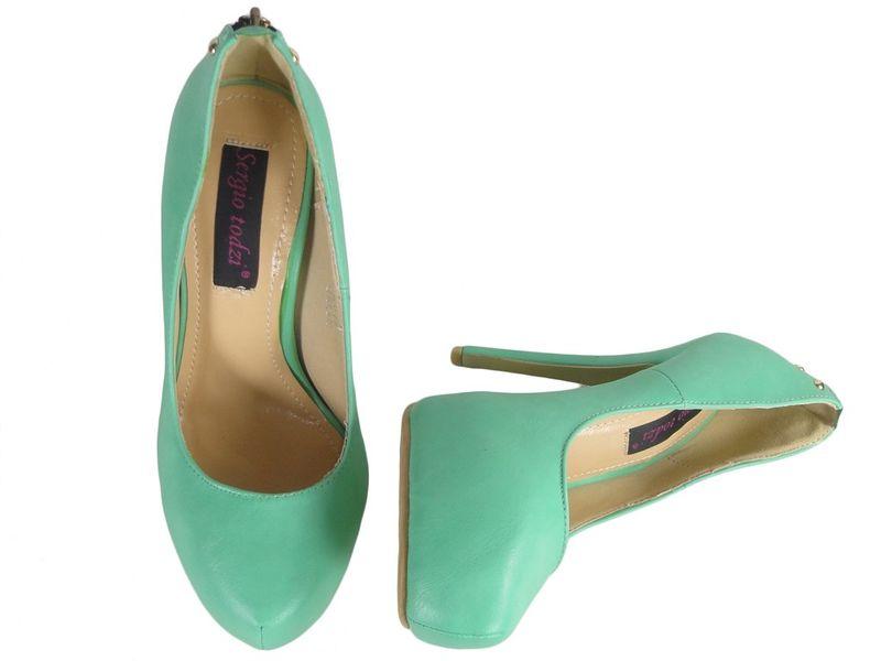 Zielone szpilki matowe buty na platformie 41