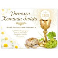 Plakat na I Komunię Świętą podziękowanie dekoracja