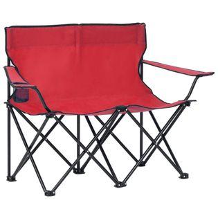 Lumarko 2-os., składane krzesło turystyczne, stal i tkanina, czerwone!