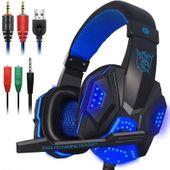 Słuchawki dla graczy gamingowe LED z mikrofonem Niebieskie