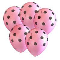 różowe BALONY w czarne KROPKI groszki 30 cm, 5 szt