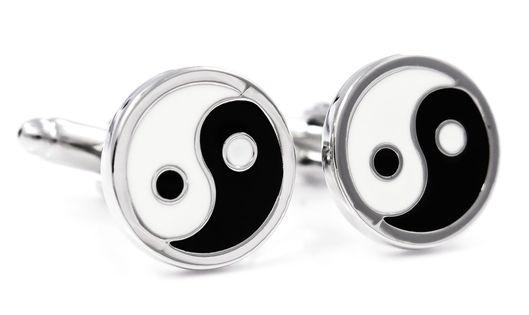 Biało-czarne spinki do mankietów - Yin i Yang U33