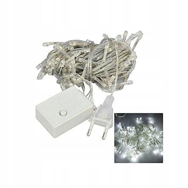 LAMPKI CHOINKOWE 100 LED 8m BIAŁE ZIMNE 8 TRYBÓW silikonowy kabel zdjęcie 2