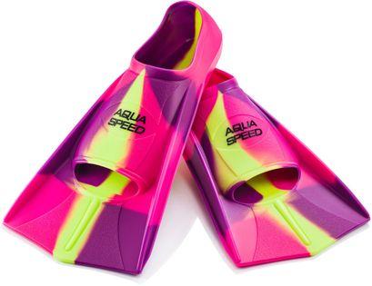 Płetwy treningowe 31/32-37/38 Rozmiar - Płetwy - 31/32 (210-215 mm), Kolor - Płetwy - Płetwy treningowe - 93 - fioletowy / różowy / fluo żółty