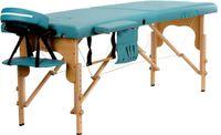 Stół, łóżko do masażu 2-segmentowe drewniane Turkusowe